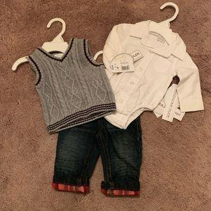 KOALA BABY Baby Boy Vest/Short/Cuff Jeans 3pc Set